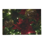Maroon and Gold Christmas Tree Holiday Photo Placemat