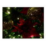 Maroon and Gold Christmas Tree Holiday Photo Postcard