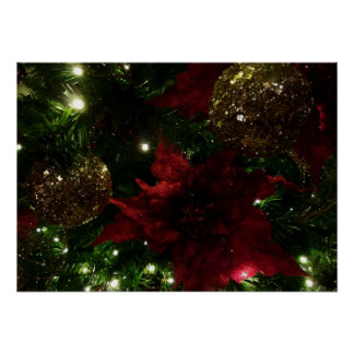 Maroon and Gold Christmas Tree Holiday Photo Poster