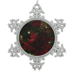 Maroon and Gold Christmas Tree Holiday Photo Snowflake Pewter Christmas Ornament