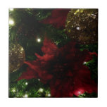 Maroon and Gold Christmas Tree Holiday Photo Tile
