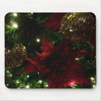 Maroon and Gold Christmas Tree I Holiday Mousepads