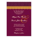 "Maroon and Gold Damask Lace Wedding V37 5"" X 7"" Invitation Card"