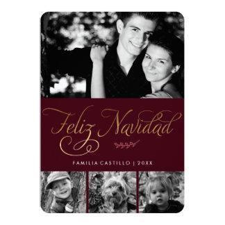 Maroon and Gold Feliz Navidad Photo Card