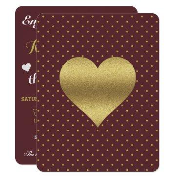 McTiffany Tiffany Aqua Maroon And Gold Heart & Polka Dot Party Invitation
