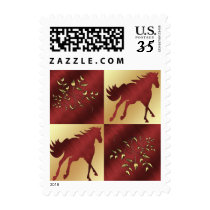 Maroon and Gold Horse and Gold Leaves Postage Stam