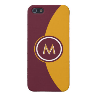 Maroon and Gold Monogram Case For iPhone SE/5/5s