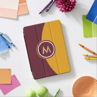 Maroon and Gold Monogram iPad Air Cover