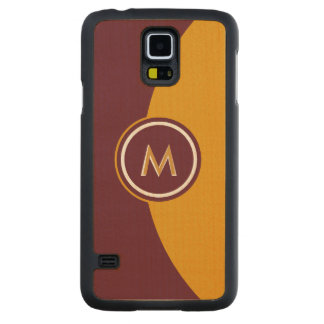 Maroon and Gold Monogram Carved® Maple Galaxy S5 Case