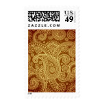 Maroon and gold paisley pattern.png postage stamps