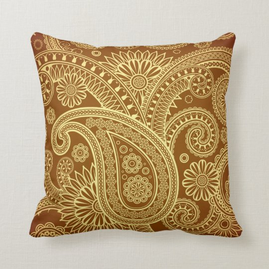Maroon And Gold Paisley Pattern Png Throw Pillow Zazzle Com