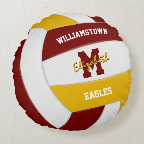 maroon and gold sports team colors volleyball room round pillow