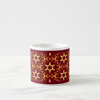 Maroon and Gold Star Glow Christmas or Hanukkah Espresso Cup