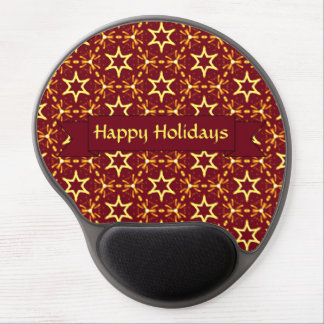 Maroon and Gold Star Glow Christmas or Hanukkah Gel Mouse Mat