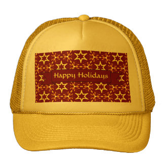 Maroon and Gold Star Glow Christmas or Hanukkah Trucker Hat