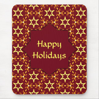 Maroon and Gold Star Glow Christmas or Hanukkah Mousepads