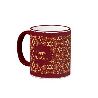 Maroon and Gold Star Glow Christmas or Hanukkah Ringer Mug