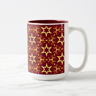Maroon and Gold Star Glow Christmas or Hanukkah Two-Tone Coffee Mug