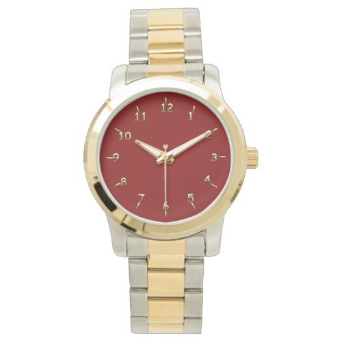 Maroon and Gold Wristwatch