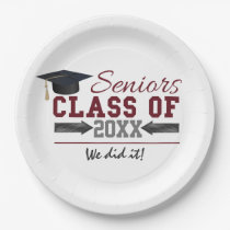Maroon and Gray Graduation Party Plate