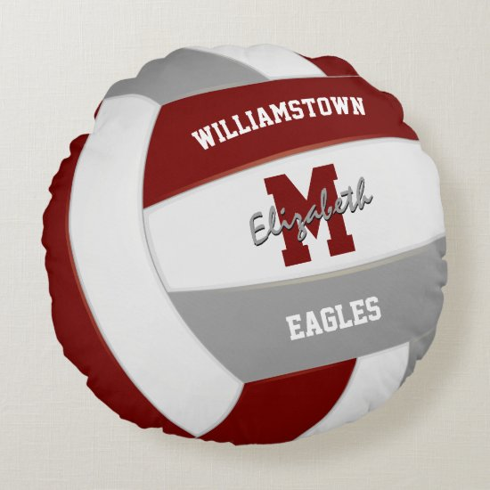 maroon and gray sports team colors volleyball room round pillow