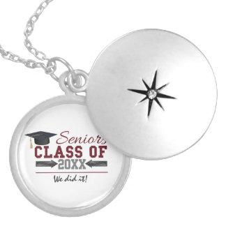 Maroon and Gray Typography Graduation Gear Locket Necklace