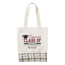 Maroon and Gray Typography Graduation Photo Bag