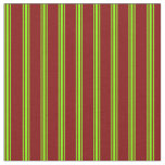 [ Thumbnail: Maroon and Green Colored Lines/Stripes Pattern Fabric ]