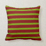 [ Thumbnail: Maroon and Green Colored Lines/Stripes Pattern Throw Pillow ]