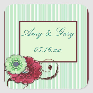Maroon and Green Flowers with Swirls Wedding Square Sticker
