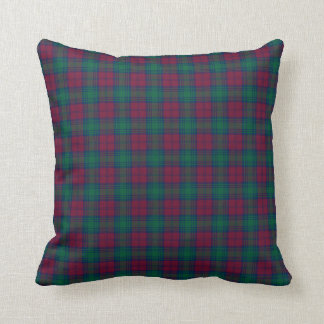 Maroon and Green Lindsay Clan Scottish Plaid Pillow