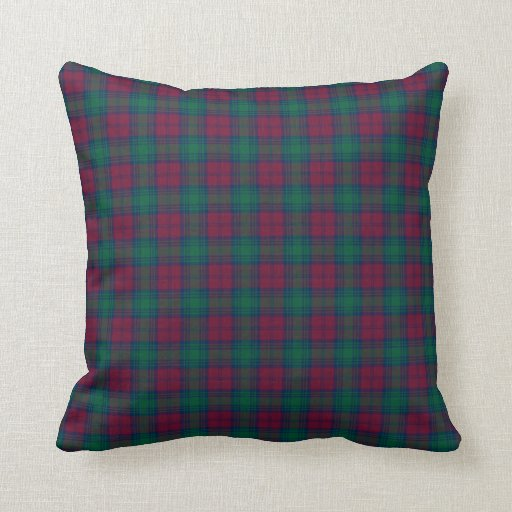 Maroon and Green Lindsay Clan Scottish Plaid Throw Pillow