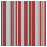 [ Thumbnail: Maroon and Grey Colored Striped/Lined Pattern Fabric ]