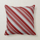 [ Thumbnail: Maroon and Grey Colored Striped/Lined Pattern Throw Pillow ]