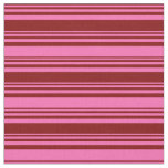 [ Thumbnail: Maroon and Hot Pink Lined Pattern Fabric ]