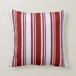 [ Thumbnail: Maroon and Lavender Colored Pattern of Stripes Throw Pillow ]