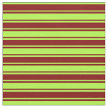 [ Thumbnail: Maroon and Light Green Colored Lines Fabric ]