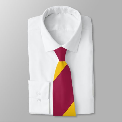Maroon and Nu Gold Broad Regimental Stripe Neck Tie