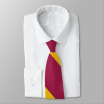 Maroon and Nu Gold Broad University Stripe Tie