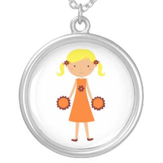Maroon and Orange Cheerleader Necklace Blonde Hair