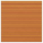 [ Thumbnail: Maroon and Orange Colored Stripes Fabric ]