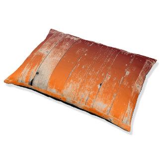 Maroon and Orange Team Colors Rustic Barn Wood Dog Bed