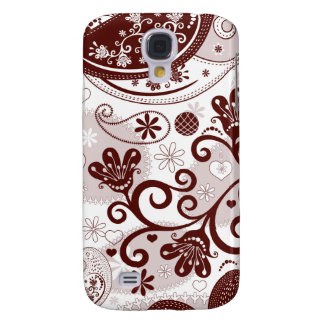 Maroon and pinks paisley birds samsung galaxy s4 cases