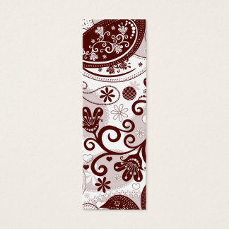 Maroon and pinks paisley birds mini business card