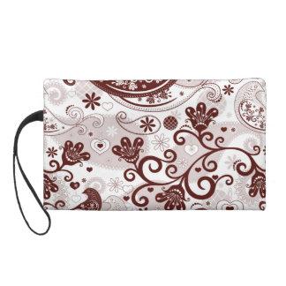 Maroon and pinks paisley birds wristlet purse