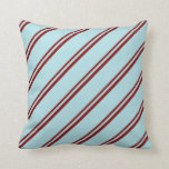 [ Thumbnail: Maroon and Powder Blue Colored Stripes Pattern Throw Pillow ]