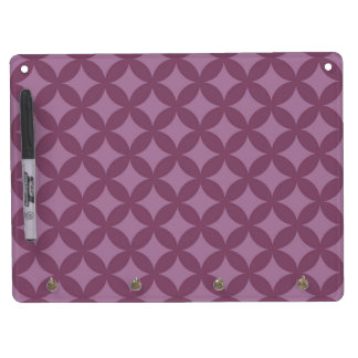Maroon and Purple Geocircle Design Dry Erase Board With Keychain Holder