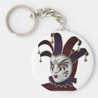 Maroon and Purple Venetian Carnivale Mask Keychain