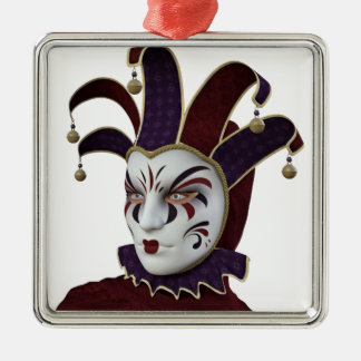 Maroon and Purple Venetian Carnivale Mask Metal Ornament