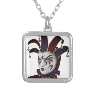 Maroon and Purple Venetian Carnivale Mask Silver Plated Necklace